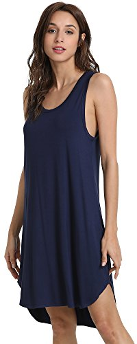 GYS Women's Soft Bamboo Scoop Neck Nightgown, Navy, Small ()