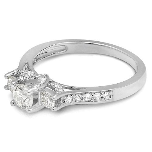 Dazzlingrock Collection 1.00 Carat (ctw) 14K Round White Diamond 3 Stone Bridal Engagement Ring 1 CT, White Gold, Size 8 by Dazzlingrock Collection (Image #3)