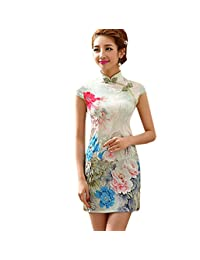 YueLian Womens Multicolor Floral Print Summer Chinese Style QiPao Short Dress