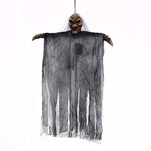 Rely2016 Halloween Decoration Hanging Ghost, Sound & Touch Activated Scary Flying Witch Ghost Horror Devil Wizard Figurine Ornament with Sounds and Flashing Eyes for Halloween Party Decor (White)