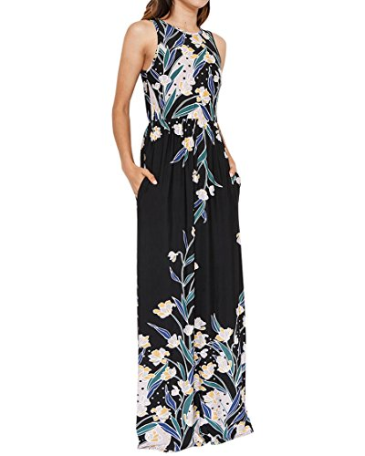 Karlywindow Womens Floral Long Maxi Dresses Sleeveless High Waisted Oversized ()