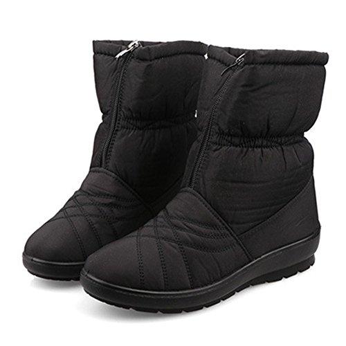 Giy Moda Donna Impermeabile Fodera In Pelliccia Stivali Da Neve A Metà Polpaccio Piattaforma Calda Scarponcino Invernale Scarpette Scarpe Nere
