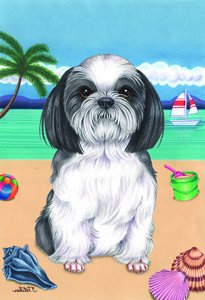 Shih Tzu   Tomoyo Pitcher Summer Beach Garden Flag
