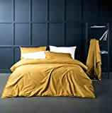 Purple and Gold Duvet Set Eikei Solid Color Egyptian Cotton Duvet Cover Luxury Bedding Set High Thread Count Long Staple Sateen Weave Silky Soft Breathable Pima Quality Bed Linen (Queen, Mustard Yellow)
