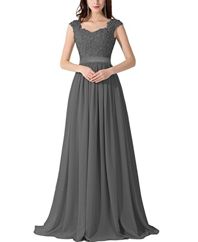 VaniaDress Women Applique Beading Long Evening Dress Formal Gowns V007LF Dark Gray US14 from VaniaDress