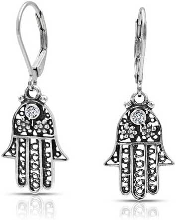 Bling Jewelry Flower Hamsa Hand CZ 925 Silver Leverback Dangle Earrings