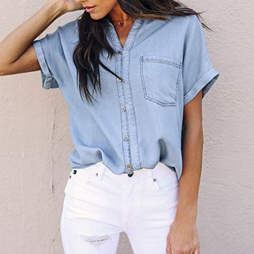 da Donna in Casual S Lunghe Maniche Azzurro XL Lunghe A Denim Blu Maniche A Moda Camicie Jersey zqtP68xt