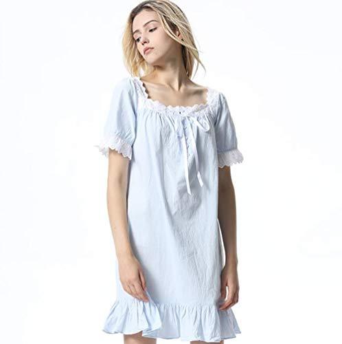 Tamaño De Pijamas Blanco Corta Sueltos Algodón Metro color Camisón Manga Azul Coreano twqzxd