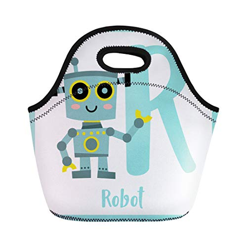 Semtomn Neoprene Lunch Tote Bag Cute Children Abc Alphabet R Letter Flashcard of Robot Reusable Cooler Bags Insulated Thermal Picnic Handbag for Travel,School,Outdoors,Work -