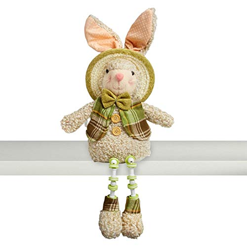 Northeast Home Goods Cotton Wood Sitting Easter Bunny Shelf Sitter with Dangling Legs, 18.5-Inch (Green Plaid Vest Bow Tie)
