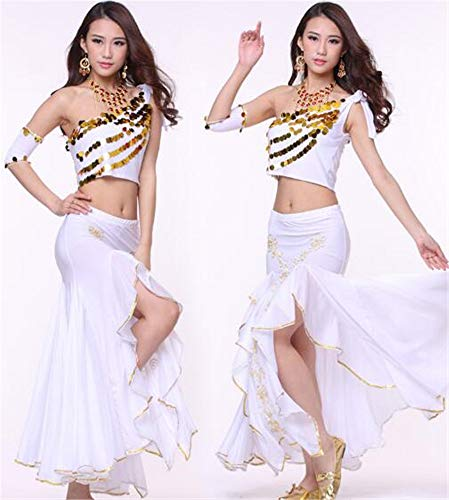 peiwen Les Danses/Shining Stade Ventre Danse/Performance Costume/Inde Danse Ensemble/des Hauts et des Jupes white