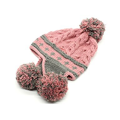 [Ibeauti Exquisite Women's Winter Warm Crochet Cap with Ear Flaps Knitted (Pink)] (Pink Top Hats)