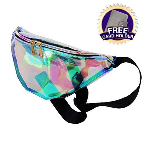 Dolores Women's PVC Hologram Fanny Pack Belt Waist Bum Bag Laser Travel Beach Purse, Iridescence]()