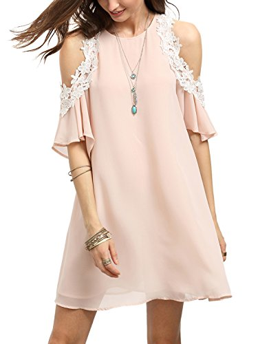 MakeMeChic Women's Cold Shoulder Casual Chiffon Summer Beach Dress Pink M