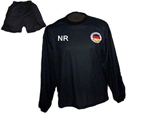 Deutschland Torwart Trikot gepolstert kurze TW Hose mit Wunschname Nummer Kinder Größe 140 Spielfussballshop