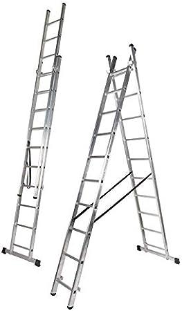 Escalera Aluminio Dos Tramos, 2 + 2 m, 2 x 7 Peldaños (2.0+2.0 M): Amazon.es: Bricolaje y herramientas