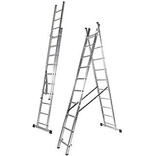 ALTIPESA Escalera Profesional de Aluminio de Apoyo Extensible con Barra estabiliadora 2 x 7 peldaños Serie Top: Amazon.es: Hogar