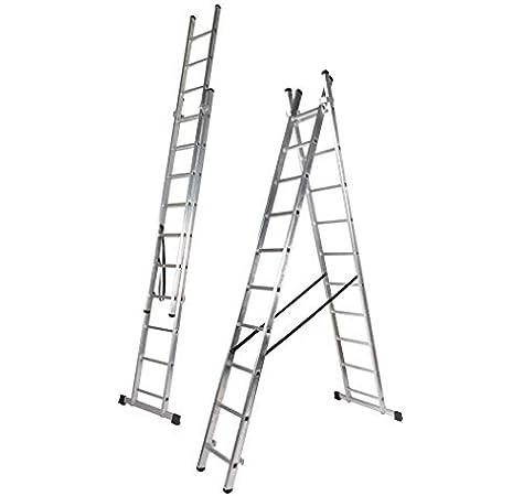 Escalera Aluminio Doble, 3.0 + 3.0 m, 2 x 10 Peldaños (3.0+3.0 M). Escada Dupla Transformavel: Amazon.es: Bricolaje y herramientas
