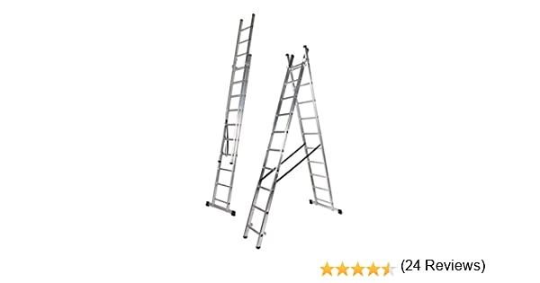 Escalera Aluminio Doble, 2.5 + 2.5 m, 2 x 9 Peldaños. Escada Dupla Transformavel (2.5+2.5 M): Amazon.es: Bricolaje y herramientas