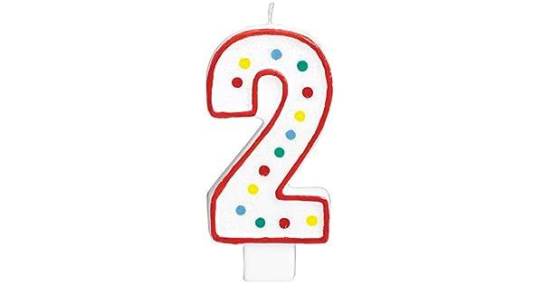 Amazon.com: Nº 2 Colorful Dots Numeral Vela de cumpleaños, 5 ...