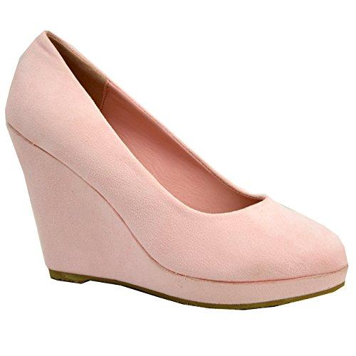 Cucu Mode Pâle De Sur Forme Talon Féminine Rose 3 Plateforme Pompes Fr Chaussures Des Dames 8 Glissent À En Taille Coin Haut AArdqx1