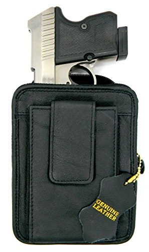 Black Leather Concealment Gun Belt Pack Holster for Ruger LCP 380, Sig Sauer P238, Kel-Tec 380, S&W Bodyguard 380, Taurus TCP 380, Diamondback 380, Kahr P380, Small Derringers, etc.