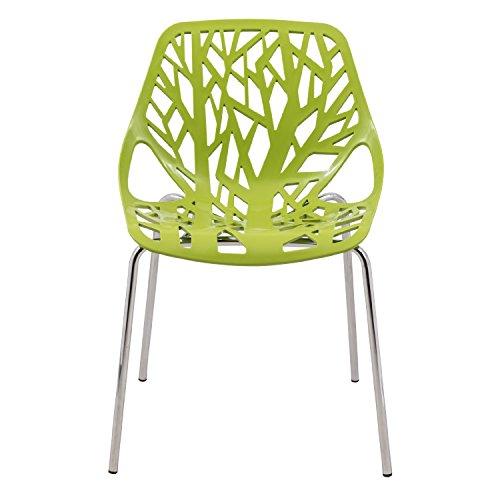 ModHaus Modern Green Stencil Birch Tree Sapling Chair with Chrome Legs Eileen Gray Side Chair