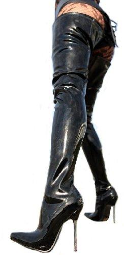 Negro Heels Erogance mujer de Crotch charol 36 Lack Negro Botas para High Overkneestiefel OtUPwqt