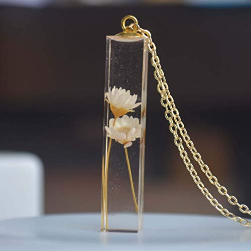 Daisy Ivory Real Flowers Transparent Cube Resin Pendant 18k Gold Plated Chain Long - Flower Resin Necklace
