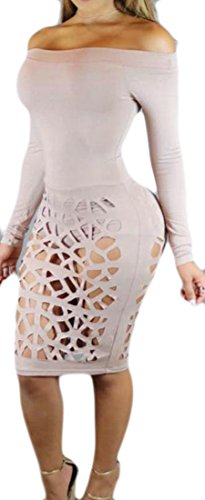 Sleeve Womens Dress Hollow Bodycon Shoulder Off Cromoncent Out Long Pink Club Sexy fTwq6q0BS
