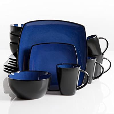 Gibson Elite Soho Lounge 16-Piece Square Reactive Glaze Dinnerware Set