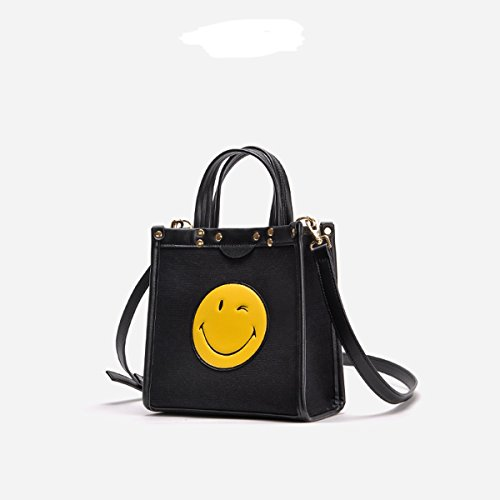 WFYJY Bolso de Bolsa Manera Black Hombro Bolso la de de Smiley black Lona Bolso rxZC8Frwq