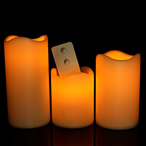 Cozeyat 3 Assorted Sizes Remote Control Flameless Candles Thanksgiving Decorative Amber Pillars AAA Battery Operated Plastic LED Lights for indoor window tabletop decorations (Led Pillar Triple)