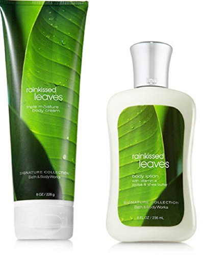 (Bath & Body Works Rainkissed Leaves Body Cream & Lotion Set)