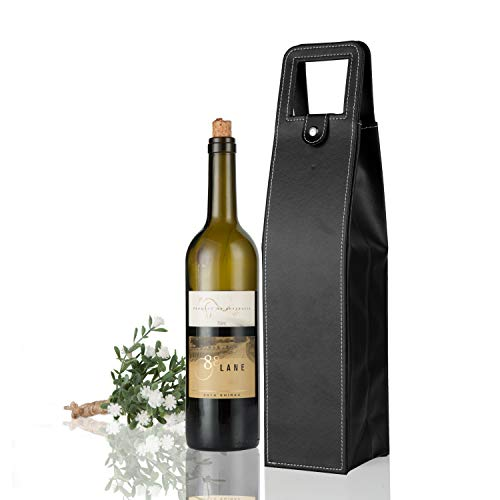 Yunko Upscale Leather Wine Bottle Protector Wine Tote Carrier Bag Reusable Gift Christmas Gift Bag Single Wine Champagne Bottle Carrier Case Portable Travel Accessory ()