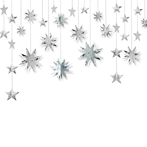 Silver Decoration Kit,Star Paper Garland,3D Stars Party Decor,Metallic Bunting Banner-Holiday Supplies,Birthday,Wedding,Baby Shower,Hanging Decorations for Nursery,Kids,Girls Room By PinkBlume(4 Set). (Stars Silver Metallic)