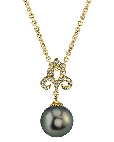 Or 14K diamant et perle de culture de Mer du sud de Tahiti Caroline Pendentif