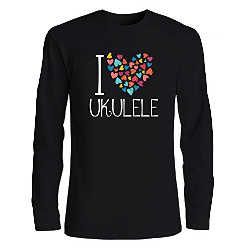 Idakoos I Love Ukulele Colorful Hearts Musical Instrument Long Sleeve T-Shirt