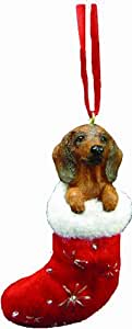 """Dachshund Christmas Stocking Ornament with """"Santa's Little Pals"""" Hand Painted and Stitched Detail"""