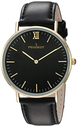 Peugeot 14K Gold Plated Slim Case Roman Numeral Black Leather Band Dress Watch 2050G