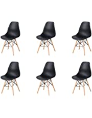 Nordyckie klasyczne krzesło do jadalni z tworzywa sztucznego kształt skorupy nogi z litego drewna metalowy wspornik do kuchni salonu biznesowego zestaw 6 szt. (czarny, 6)