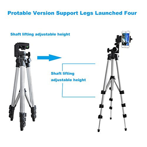 Alovexiong 110cm General Portable Camera Tripod Stand Holder Adjustable Rotatable Retractable Tripods + Smartphone Clip Holder Mount For iPhone 5 6S 7 8 9 Plus X Phone LG Video Camera GoPro by Alovexiong (Image #2)