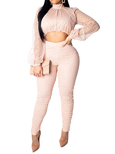 - Womens Mesh Polka Dot 2 Pieces Outfits Jumpsuit See Through Long Sleeve Mock Neck Crop Top and Zipper Skinny Long Pants Set Pink L