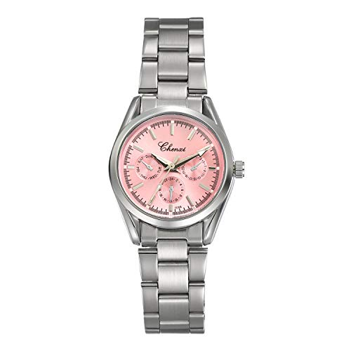 Women's Brcaelet Bangle Watch Fashion Accessories Pink Dial Japan Quartz Wrist Watches with Stainless Steel Band ()