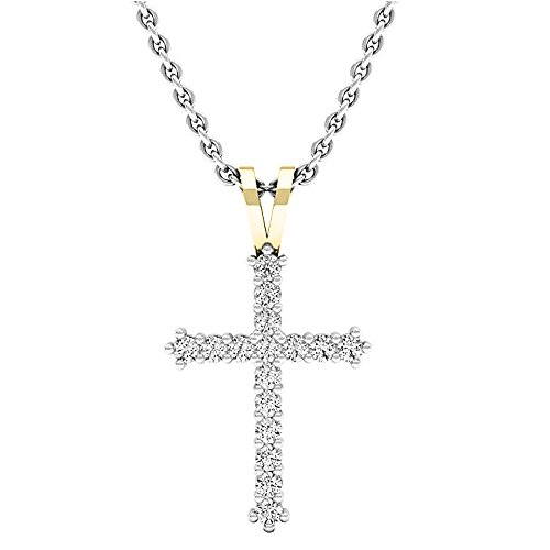 Dazzlingrock Collection 0.25 Carat (ctw) 10K Round Diamond Ladies Cross Pendant 1/4 CT (Silver Chain Included), Yellow Gold ()