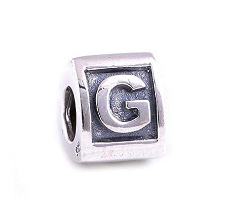 """Plata de Ley 925 bloque de letra del alfabeto """"G Charm Bead Fits Pandora"""