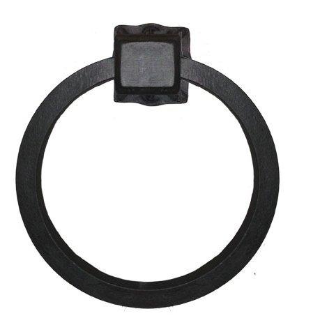Adobe Wrought Iron Towel Ring Black Iron Hand Rubbed Finish