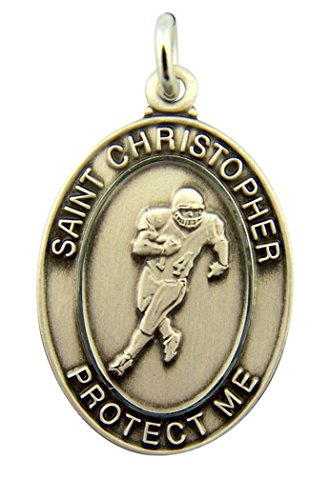 Sterling Silver Saint Christopher Protect Me Football Boy Athlete Medal, 1 1/8 ()