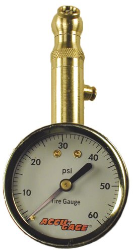 Accu-Gage S60XA (5-60 PSI) Swivel Angle Chuck Dial Tire Pressure Gauge with Bleed Valve