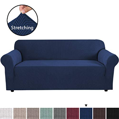 4 Sofa - H.VERSAILTEX Stretch Sofa Cover 1-Piece Extra Large Slipcover for Couch Sofa, Jacquard Spandex Sofa Slipcover Lounge Cover Sofa Protector, Anti-Slip Foams, Machine Washable (XL Sofa 4 Seater, Navy)